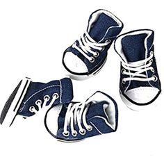 Osave Small Pet Dog Cat Denim Shoes Anti-slip Small Dog Pet Canvas Sneaker Denim Shoes ( #DogApparelAccessories