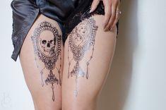Elegant Chandelier Cameo Tattoo Set by SeventhSkin on Etsy