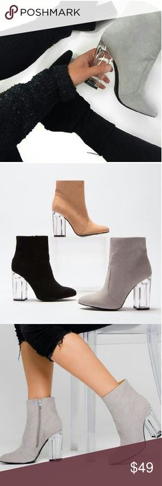//The Emilia// Lucite heel light grey booties Brand new Never been worn Comes in original box  No trades Price is firm!! Many more sizes Available True to size Shoes Ankle Boots & Booties