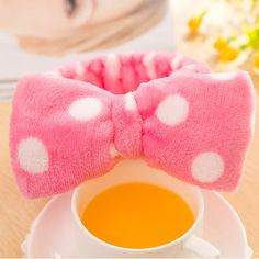 1Pc New Girls Headwear Flannelette Bows Elastic Headband For Bath Shower Tool Soft Hairband For Spa Bath and Wash Face Sauna