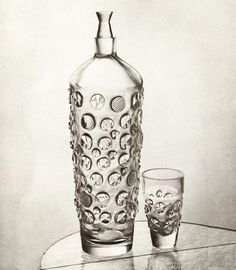 Czech glass set of decanter and glass designed by Ladislav Oliva in 1961