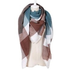 ca62aec5bf8 2017 Winter Brand Designer Triangle Scarf Women Shawl Cashmere Autumn Plaid  Wool Scarves Blanket Wholesale Drop
