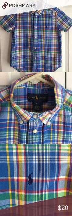 Ralph Lauren Multi-Colored Plaid Button Down Red, yellow, green, blue, navy, and white colored Plaid. Excellent condition. No stains, rips or tears. Smoke free home. Ralph Lauren Shirts & Tops Button Down Shirts