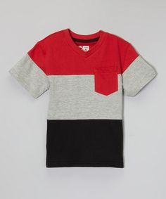 Loving this Red & Black Color Block V-Neck Tee - Toddler & Boys on #zulily! #zulilyfinds