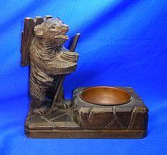 Vintage German Wood Carved Bear Match Stick Holder with Copper Ashtray #AF