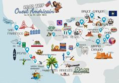 Road trip Ouest Americain carte itineraireYou can find American road trips and more on our website. Road Trip Usa, Road Trip France, Route 66 Road Trip, Road Trip Europe, Road Trip Destinations, Usa Roadtrip, Bryce Canyon, Grand Canyon, East Coast Travel