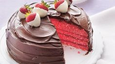 Strawberry cake is jam-packed with flavor from tangy strawberry gelatin to rich chocolate frosting.