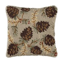 North Woods Pinecones Hooked Wool Pillow