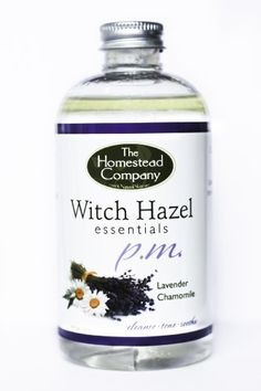 Witch Hazel PM (Lavender/Chamomile) Bundle: Witch Hazel PM + Facial Cleansing Cotton Pads (100 pack) by The Homestead Company. $12.75. 99.85% Witch Hazel distillate (natural plant derived), .15% Benzoic Acid (mild preservative), Aloe Vera Oil, Lavender Essential Oil, Chamomile Essential Oil.   The most natural form of witch hazel available is preserved with benzoic acid, which is used in our products. It has a .15% concentration, making it 99.85% naturally plant derive...