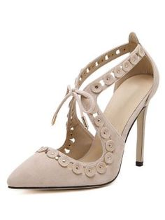 Apricot Suedette Lace Up Cut Out Detail Studded Heels