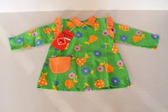 Robe bébé vert et orange, tablier enfant, cadeau naissance, vêtement bébé vintage, dressing vintage,