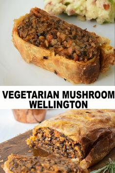 Vegetarian Mushroom Wellington with Gravy Vegetarian Mushroom Wellington with Gravy Culinary Ginger culinaryginger Culinary Ginger Recipe Videos Chopped mushrooms vegetables and herb are shaped into nbsp hellip pflanzen video Vegetarian Recipes Videos, Cooking Recipes, Burger Recipes, Vegan Wellington, Vegetable Wellington, Vegetarian Christmas Dinner, Puff Pastry Recipes, Christmas Dishes, Base Foods