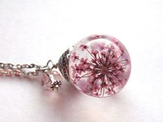 Pink Queen Anne's Lace Resin Pendant Necklace Sphere - Pink Flowers encased in resin orb, Pressed Flower Jewelry