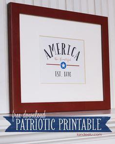 Fourth of July FREE Printable: America The Beautiful Est. 1776 - landeelu.com
