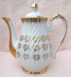 Vintage White with Gold Teapot  Made in Japan by HouseofLucien, $28.00