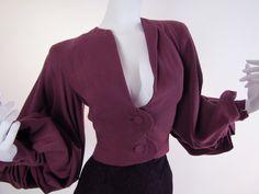 #Vintage #Couture 1940's Lilli Ann Film Noir Dramatic Bishop Sleeve Jacket