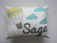 A Personalized Hot Air Balloon Pillow by gigglesandtoots on Etsy