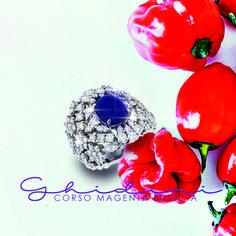 anello zaffiro cabochon e diamanti #fashion #ring #bresciacentro #brescia #ghidinigioielli #diamond #saffire #heritage #picoftheday