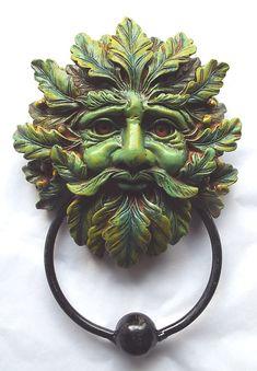 oak leaf green man door knocker