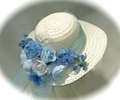 Blue Hyacinth Girl's Hat Easter Bonnet Flower by Marcellefinery