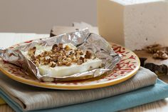 Baked Bulgarian White Cheese with honey and walnuts, /can use feta/