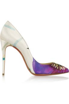 Beautiful printed satin pumps with a bright floral motif (Christian Louboutin Pigalle Follies 100 printed satin pumps)