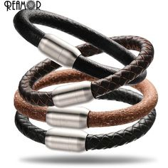 Reamor 5 kinds 8mm large hole beads genuine leather bracelet women's men bracelet diy jewelry making with magnet clasp