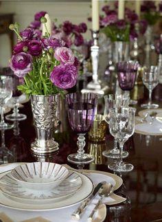 Tablescape in purple and silver.