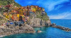 The multicoloured houses of Cinque Terre (Manarola), Italy.