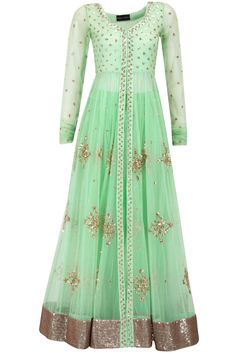 Mint green sequin embellished jacket with lehenga! Get these in your favourtie colors made to your measurement and delivered to your doorstep on www. Indian Wedding Outfits, Pakistani Outfits, Indian Outfits, India Fashion, Ethnic Fashion, Asian Fashion, Indian Attire, Indian Wear, Saris
