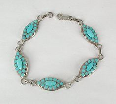 Hand made Native American Indian Jewelry; Zuni Sterling Silver turquoise link bracelet