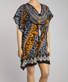 Look at this #zulilyfind! Gray Embellished Yoke Cape Sleeve Dress - Plus #zulilyfinds