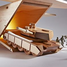 Mil-spec M1A1 Abrams Tank woodworking plan. Rumbling like thunder across the battlefield comes a rolling fortress, ready to strike fun into the hearts of its recipient. This bulletproof bruiser fits the cargo bay of the AC-130 (plans sold separately) so you can airdrop your armor anywhere it's needed.