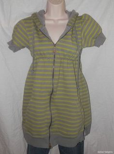 Free People Hoodie Jacket s Small Green Gray Stripe Zip Tunic Long Short Sleeve   eBay