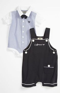 Armani Junior Bodysuit, Overalls & Bow Tie (Infant) available at #Nordstrom