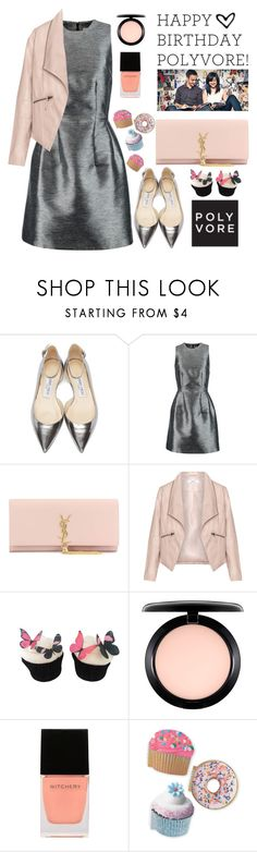 """Happy Birthday Poly!!! Yay 9 years!!!!"" by karineminzonwilson on Polyvore featuring Jimmy Choo, Iris & Ink, Yves Saint Laurent, Zizzi, MAC Cosmetics, Witchery, women's clothing, women, female and woman"