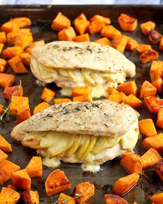 Creamy Gouda cheese and sweet apples make these stuffed chicken breasts a…