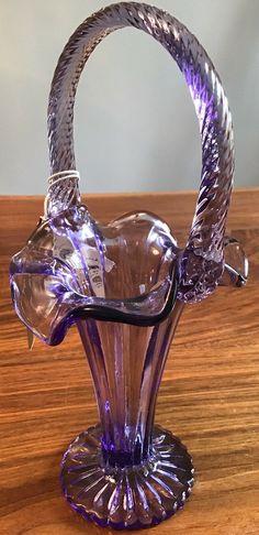 Fenton Glassware, Brides Basket, Purple Glass, Antique Glass, Shabby Chic Decor, Wine Decanter, Milk Glass, Vases, Depression