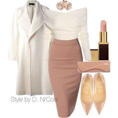 Λευκό παλτό και ροζ pencil φούστα