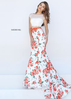 Orange Flower Print Evening Dress