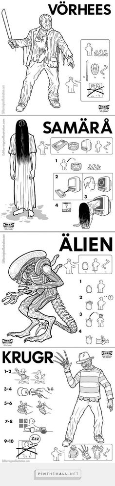 [ Halloween Quotes : Illustration Description IKEA Instructions for Horror Fans Horror Icons, Horror Art, Scary Movies, Horror Movies, Comedy Movies, Kitsch, Creepy, Jason Voorhees, Halloween Horror
