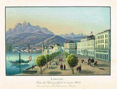 Luzerne - Quai du Schweizerhof et le mont Pilate - Zurich chez R Dikenmañ, Peintre - Aquatinte XIXème - MAS Estampes Anciennes - MAS Antique Prints