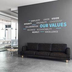 Office Wall Design, Modern Office Design, Office Interior Design, Office Interiors, Office Wall Graphics, Office Wall Decals, Office Walls, Office Glass Wall, Corporate Office Decor