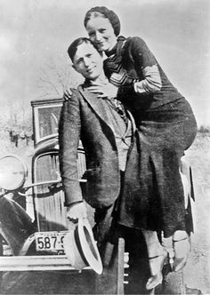 """The Real """"Bonnie & Clyde"""". Bonnie Parker (1910-1934) and Clyde Barrow (1909-1934) were American outlaws and robbers from the Dallas area who traveled the central United States with their gang during the Great Depression. Though known today for his dozen-or-so bank robberies, Barrow preferred to rob small stores or rural gas stations. The gang is believed to have killed at least nine police officers and several civilians. The couple were killed in Bienville Parish, Louisiana, by law officers."""