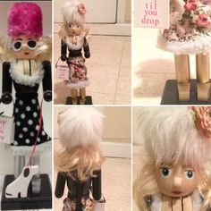 The nutcracker on the left was the one I bought from Dollar General for four dollars. On the right, is the final product after I gave her a makeover.