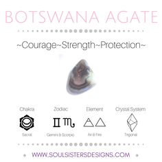 Metaphysical Healing Properties of Botswana Agate, including associated Chakra, Zodiac and Element, along with Crystal System/Lattice to assist you in setting up a Crystal Grid. Go to https:/soulsistersdesigns.com to learn more!