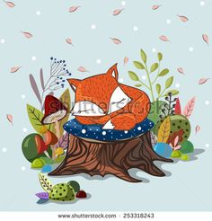 Vector illustration with  slipping baby fox,leaves, branches, mushrooms and stub. Lovely cute children illustration. Kids illustration.
