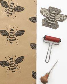This item is unavailable Bumble Bee wrapping paper is one of my most popular designs, especially as the months warm up. I sent a few sheets of this paper to the setdec department at Warner Bros Studios last year, I believe it was for the show 'Lucifer'. Artists For Kids, Art For Kids, Print Wrapping Paper, Print Paper, Lino Art, Stamp Carving, Linoprint, Bee Art, Bee Design