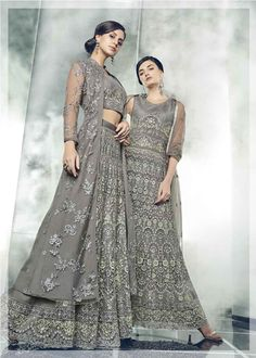 Designer Grey Color Heavy Dull Mono Net Part Wear Suit With Koti And Lehenga Most women will be able to pull off this grey coloured anarkali salwar kameez with lot of oomph and glamour. Anarkali Dress, Anarkali Suits, Lehenga, Pakistani Bridal Dresses, Wedding Dresses, Floor Length Anarkali, Collor, Designer Anarkali, Indian Gowns