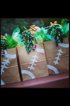 Football favor bags - and guess who is in charge of food for the players for away games!!!!!
